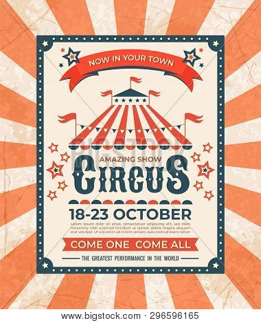 Circus Poster. Carnival Vintage Old Banner Frame, Magic Show Greetings Card, Retro Invitation Card.