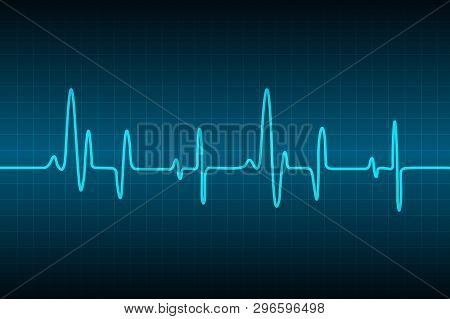 Blue Heart Pulse Monitor With Signal. Heart Beat. Icon. Ekg. Vector Background