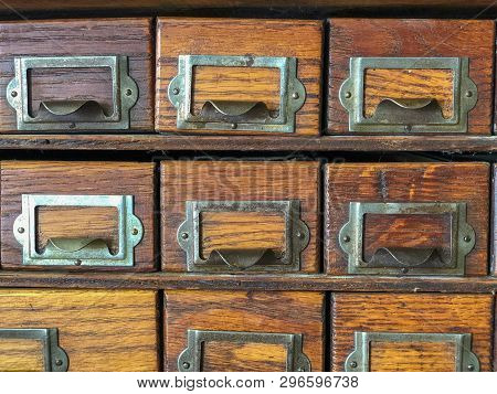 Fayetteville, Nc - Circa April 2019 : Antique Storage Pullout Drawers Organization Equipment