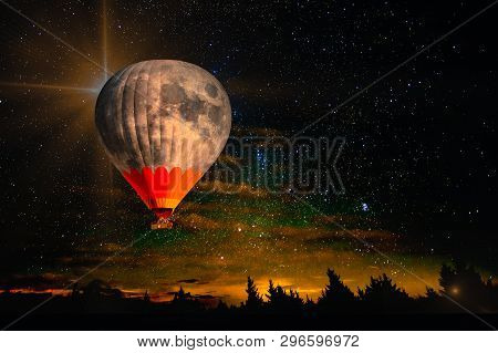 Colorful Hot Air Balloon - Moon Rises Very High In Night Starry Sky Above Horizon. Collage. Dream Co