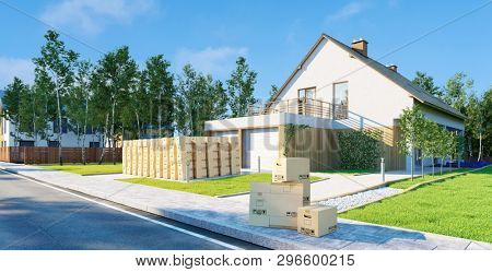 Many moving boxes stacked when moving in front of a single family home (3d rendering)