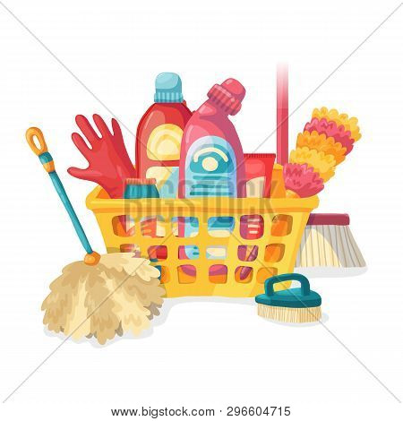Design Banner House Cleaning With  Cleaning Products. Cartoon Illustration Household Chemicals. Teml