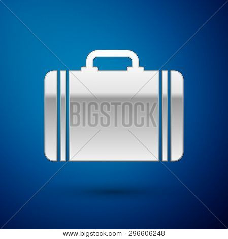 Silver Suitcase For Travel Icon Isolated On Blue Background. Traveling Baggage Sign. Travel Luggage