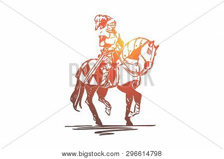 Knight, Horse, Medieval, Character, Armor Concept. Hand Drawn Ancient Knight Dressed In Armor On Kni
