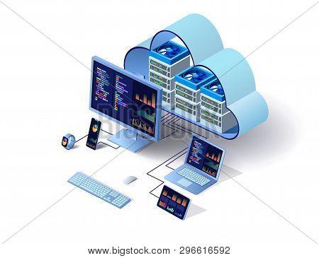 Cloud Technology Computing Concept. Data Center Concept. Modern Cloud Technologies. Vector 3d Isomet
