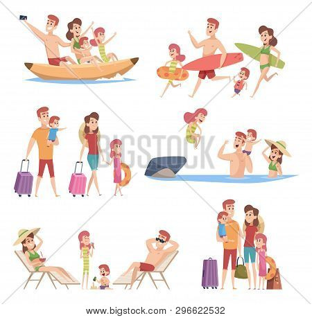 Summer Travellers. Happy Love Couple With Childrens Beach Walking Vacation Trip Outdoor Adventure Ve