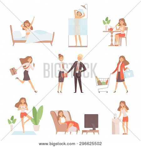 Woman Daily Routine. Lifetime Of Mother Business Lady Breakfast Working Relax Time Office Home Vecto
