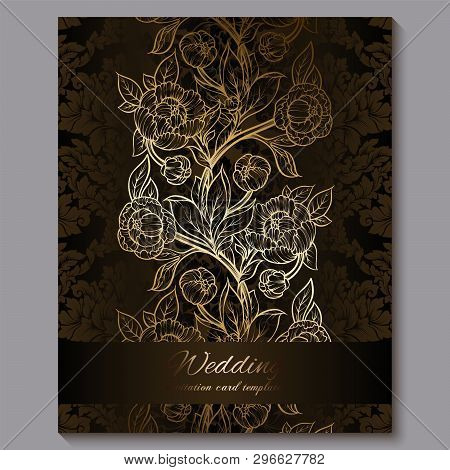 Exquisite Chocolate Royal Luxury Wedding Invitation, Gold Floral Background With Frame And Place For