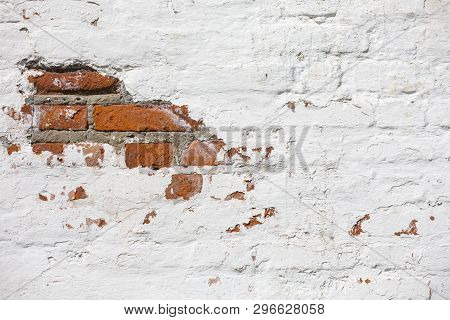 Vintage Old Brick Wall Texture. Grunge Red White Stonewall Horizontal Background. Shabby Building Fa