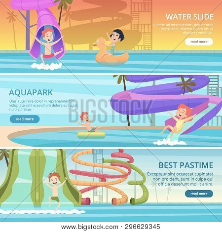 Water Park Banners. Aqua Games Funny Pleasure For Kids At Pool Playground With Water Slide And Rubbe