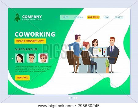 Teamwork Landing. Coworking Concept Web Page Layout Business Workspace Managers Male And Female Offi