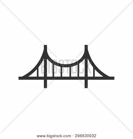Bridge Sign Icon In Flat Style. Drawbridge Vector Illustration On White Isolated Background. Road Bu