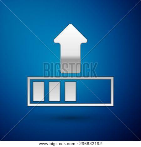 Silver Loading Icon Isolated On Blue Background. Upload In Progress. Progress Bar Icon. Vector Illus