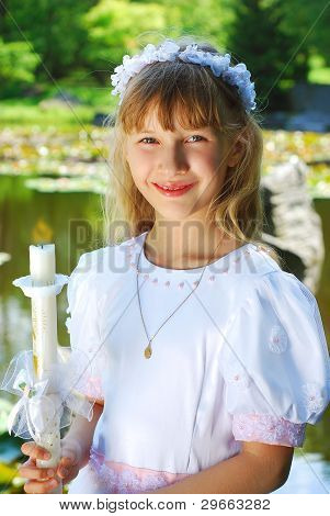 Girl Going To The First Holy Communion