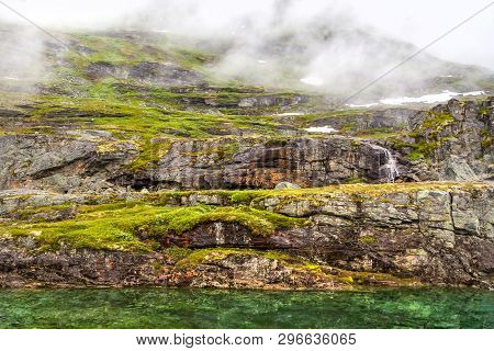 Norway Landscapes. Beautiful Mountainous Landscape Around Norwegian Fjord In Sunny Day. Beautiful Na