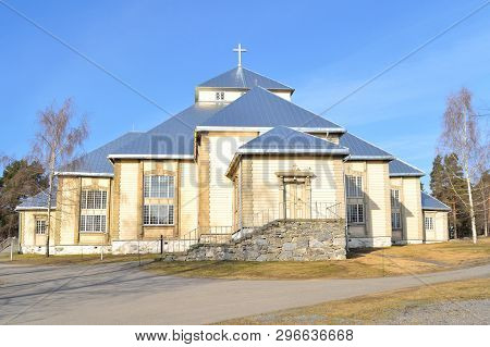 Finland. Lutheran Church In Mikkeli In A Sunny Spring Day