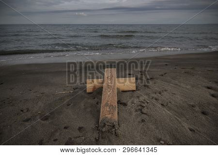 A Cross That Someone Puts On The Shore. Black Sea, Between Bourgas And Pomorie, Bulgaria.
