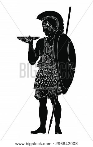 An Ancient Greek Warrior With A Spear And A Shield Is Standing And Holding A Bowl In His Hands. Vect