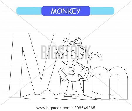 Letter M And Funny Cartoon Monkey.  Coloring Page. Animals Alphabet A-z. Cute Zoo Alphabet In Vector