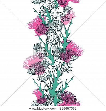 Vector Seamless Pattern With Outline Thistle Or Carduus Plant, Spiny Leaf, Bud And Flower In Green A