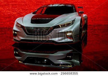 New York, Ny Usa - April 20, 2019: 2020 Nissan Gt-r Nismo Sport Car Unvieled At New York Internation
