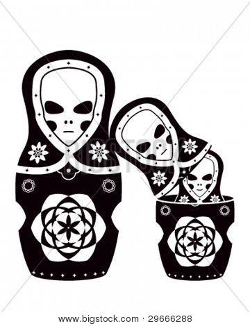 Vector art of the russian dolls. Three aliens as matryoshka.