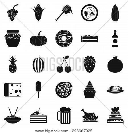 Gastronomic Pleasure Icons Set. Simple Set Of 25 Gastronomic Pleasure Icons For Web Isolated On Whit