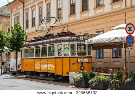 Szeged, Hungary, June 28: A Tram Car Equipped As A Cafe On The Street Of The City Of Szeged In Hunga