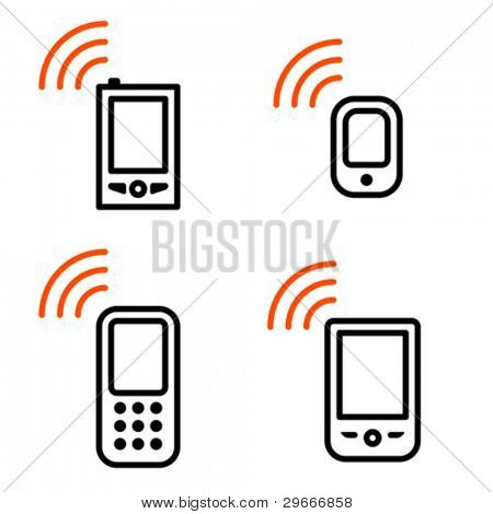 Mobile phone set. Icons are aligned according to the pixel grid. It means that the images are prepared to use in small-sizes. It's specifically for the Web.