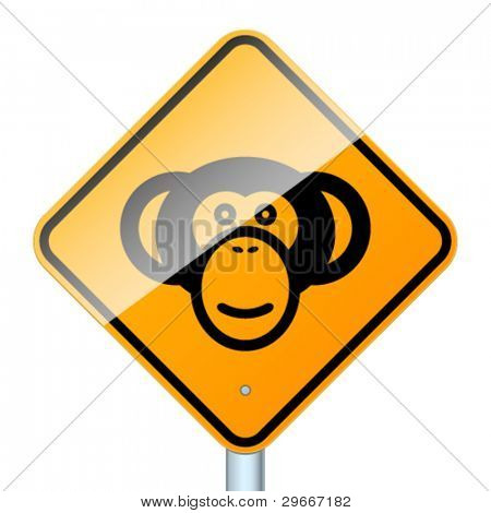 Monkey road sign. High-detailed vector sign isolated on white background
