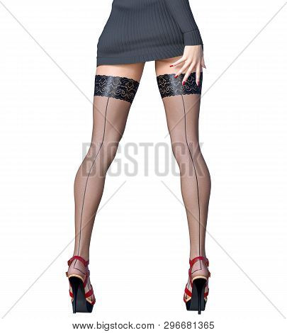 Beautiful Long Slender Sexy Female Legs Short Black Skirt Stockings.outerwear Spring Autumn Clothing