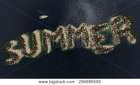 Summer Tropical Island Top View , 3d Rendering