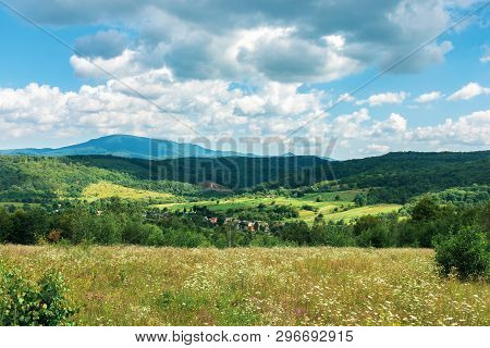 Beautiful Countryside In Summer. Wonderful Landscape In Mountains. Rural Fields And Grassy Meadows O