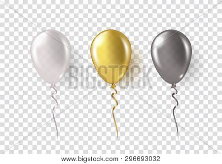 Balloons Isolated On Transparent Background. Glossy Gold, Silver, Black Festive 3D Helium Ballons. V