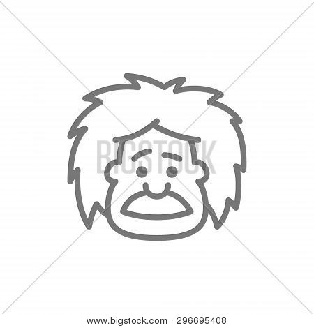 Einstein, professor, teacher or scientist line icon. poster