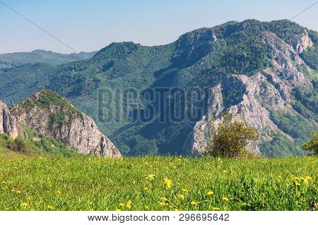 Springtime Scenery Of Romania Countryside.  Grassy Rural Fields On Hills. Gorge With Cliff In The Di