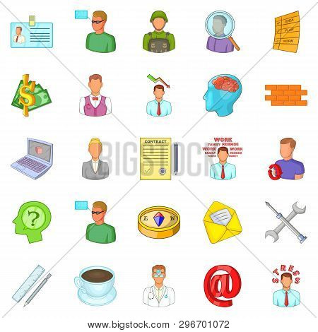 Difficult Work Icons Set. Cartoon Set Of 25 Difficult Work Icons For Web Isolated On White Backgroun