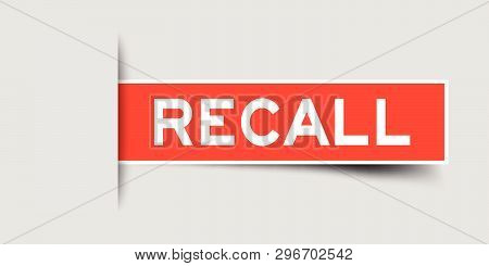 Square Seal Red Color Sticker In Word Recall Insert On Gray Background