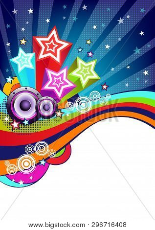 Disco Party Background. Colorful Halftone Background. Abstract Holiday Vector Background. Music Back