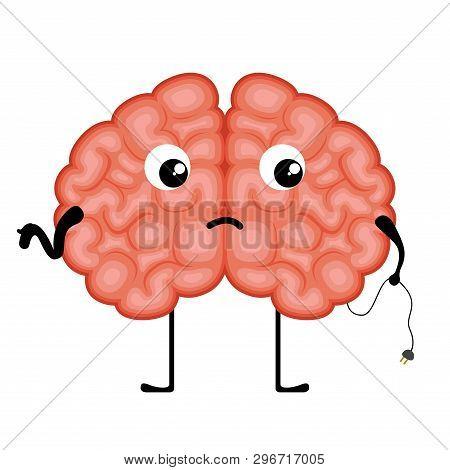 Isolated Disconnected Brain Cartoon. Vector Illustration Design