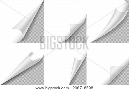 Curled Corners Set. Paper Page Curl Corner, Flip Turn Fold Sheet. Sticker Curly Angle, Bent Border N