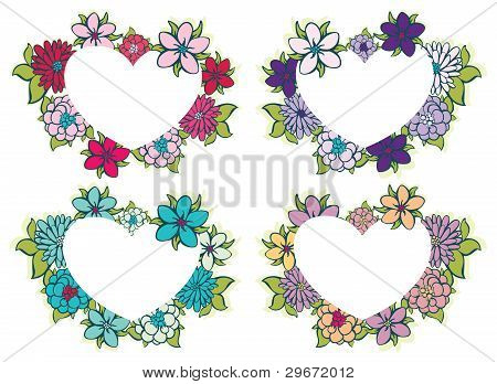 Flowers and a Heart. Vector illustration