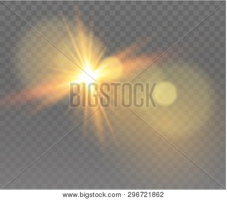 Sunlight a translucent special design of the light effect. Vector blur in the light of radiance. Isolated sunlight transparent background. Element of decor. Horizontal rays of light. poster