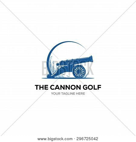 Vector Label Of Golf. Logo Of Golf With Cannon Symbol. Vector Illustration