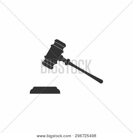 Judge Gavel Icon Isolated. Gavel For Adjudication Of Sentences And Bills, Court, Justice, With A Sta