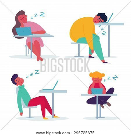 Tired Employee Sleeping In The Office. Woman And Man Are Exhausted On Their Working Place. Flat Vect