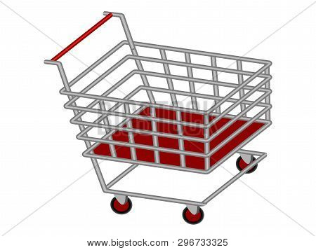 Isolated 3d Shopping Cart. Vector Illustration Design