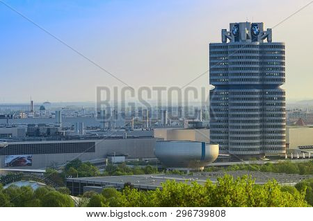 Munich, Germany - April 22, 2018: Bmw Headquarters Office Tower, Manufacturing Plants And Industrial