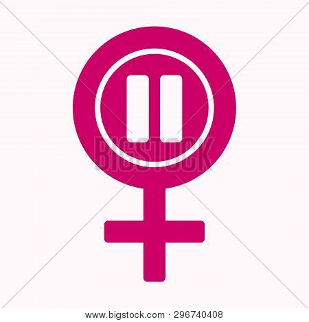 Menopause Icon In Pink Color. Symbol Of Menopause Period. Medical, Healthcare And Feminine Concept.