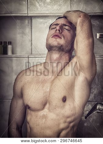 Naked Athletic Handsome Young Man Taking Shower